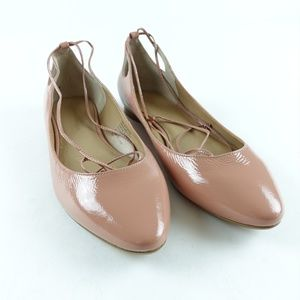 Banana Republic Almond Toe Tie Up Flats Nude